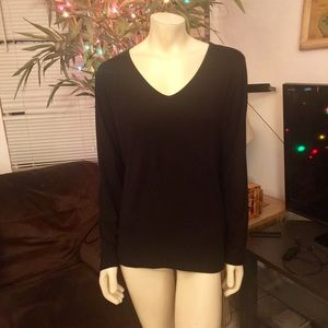 Time and Tru Long Sleeve Black Tee Large